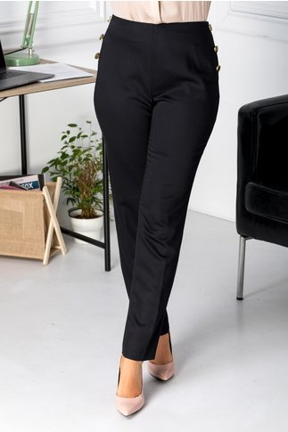 Pantaloni negri office cu nasturi pe lateral