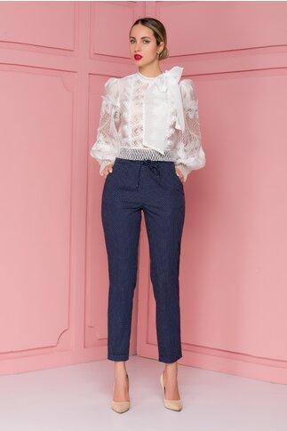 Pantaloni Nety bleumarin cu buline