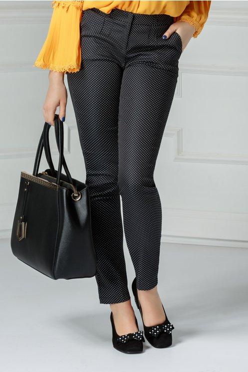 Pantaloni Odrin office negri cu buline