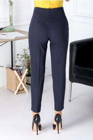 Pantaloni office bleumarin cu insertii metalice aurii in talie