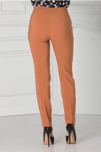 Pantaloni office caramiziu cu dunga