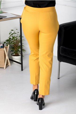 Pantaloni office galben mustar cu funda in talie