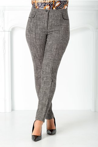 Pantaloni office gri antracit cu dunga