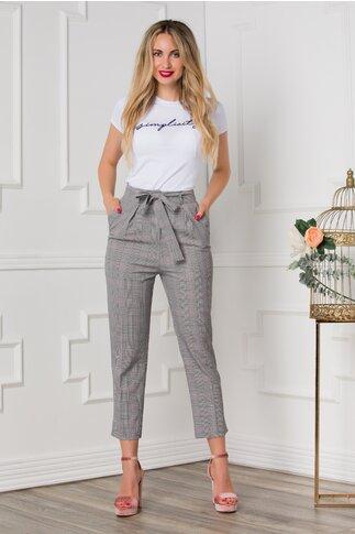 Pantaloni office gri cu carouri roz