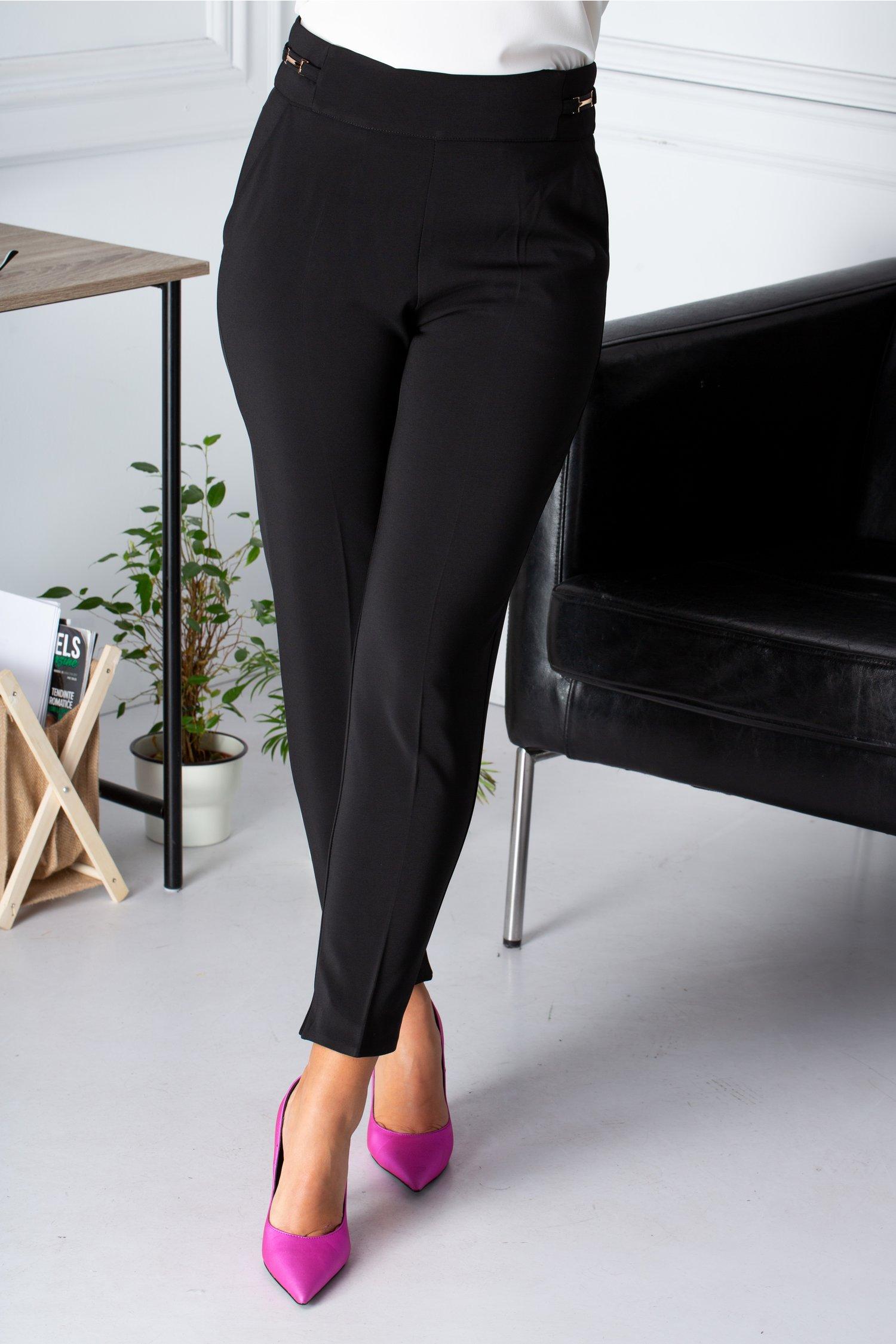 Pantaloni office negrii cu insertii metalice aurii in talie