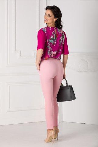 Pantaloni office roz cu dunga