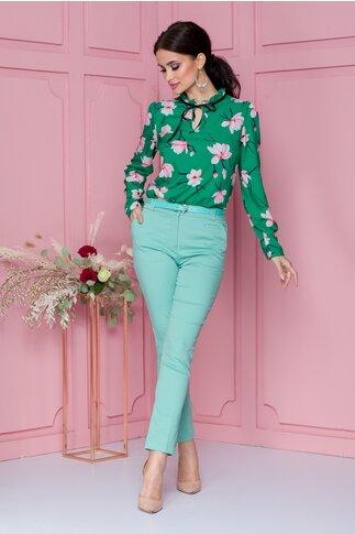 Pantaloni office verde mint cu dunga si curea in talie