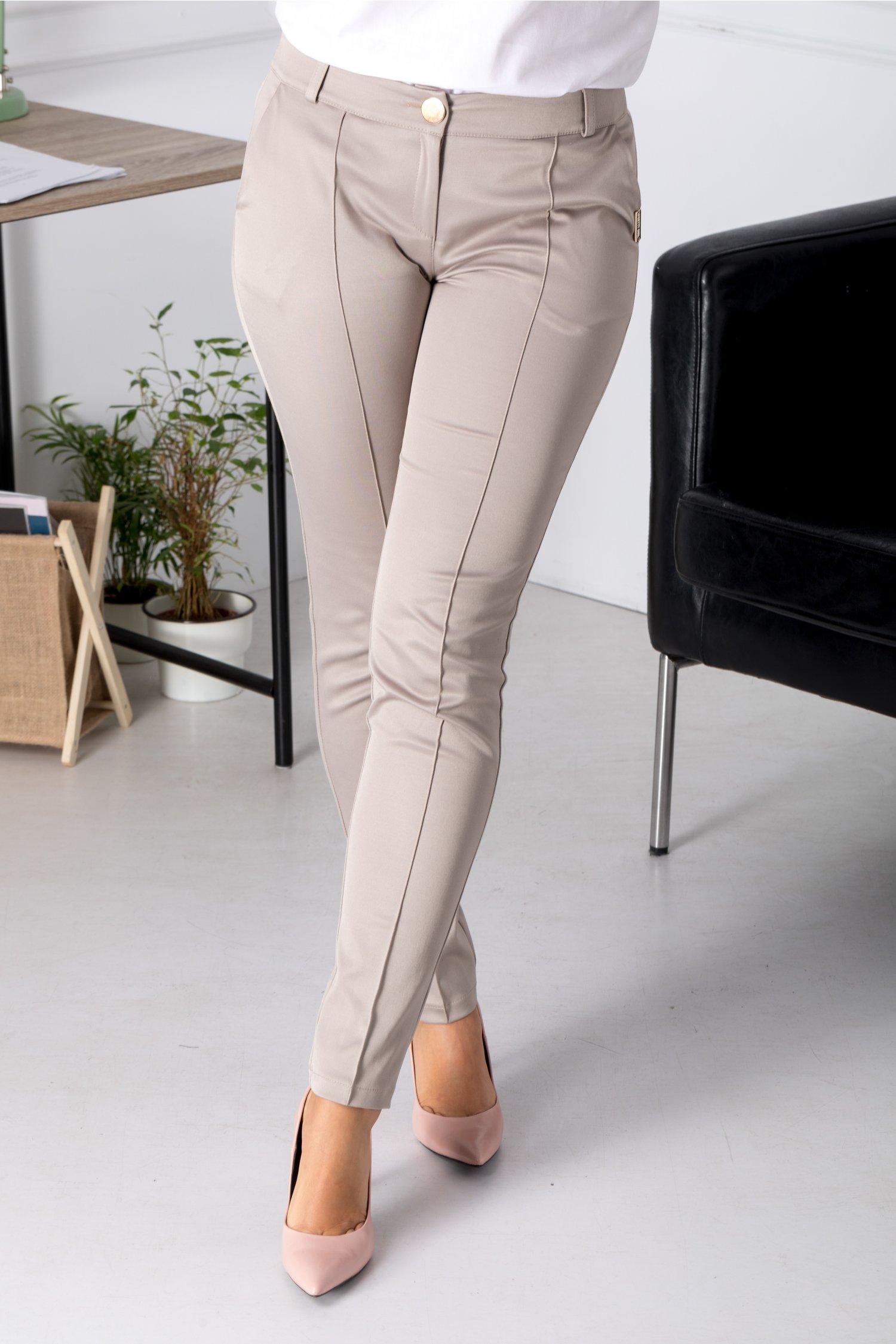 Pantaloni Pery bej cu dunga