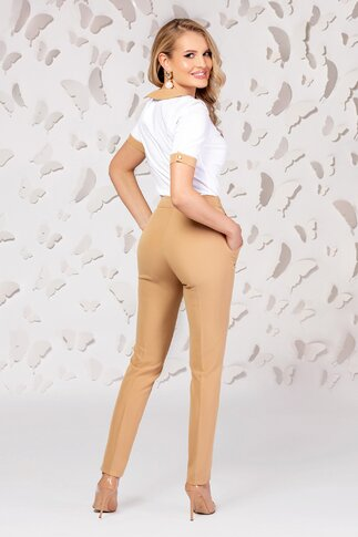 Pantaloni Pretty dama bej cu talie inalta