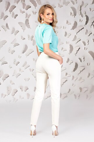 Pantaloni Pretty dama ivory cu talie inalta