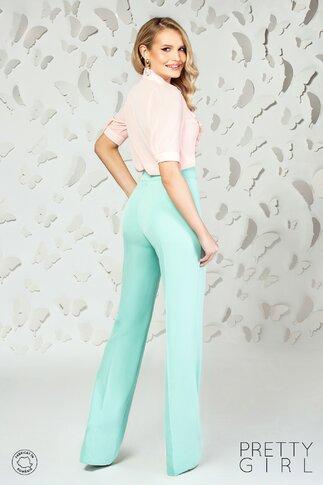 Pantaloni Pretty Girl verde mint cu talie inalta