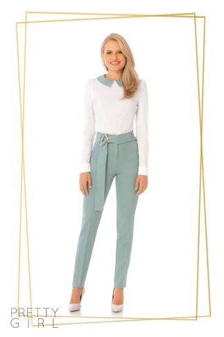 Pantaloni Pretty Girl albastru perol cu centura stilizata