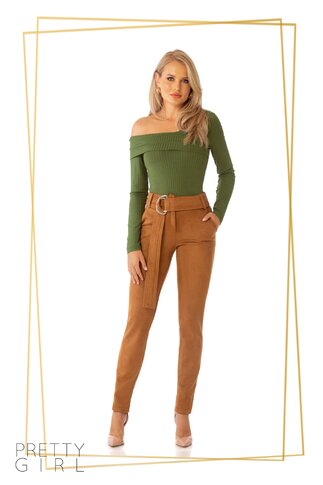 Pantaloni Pretty Girl maro catifelati si cordon in talie