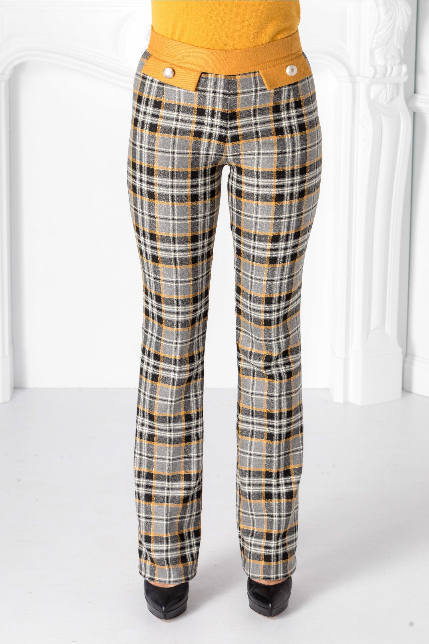Pantaloni Pretty gri cu carouri galbene thumbnail