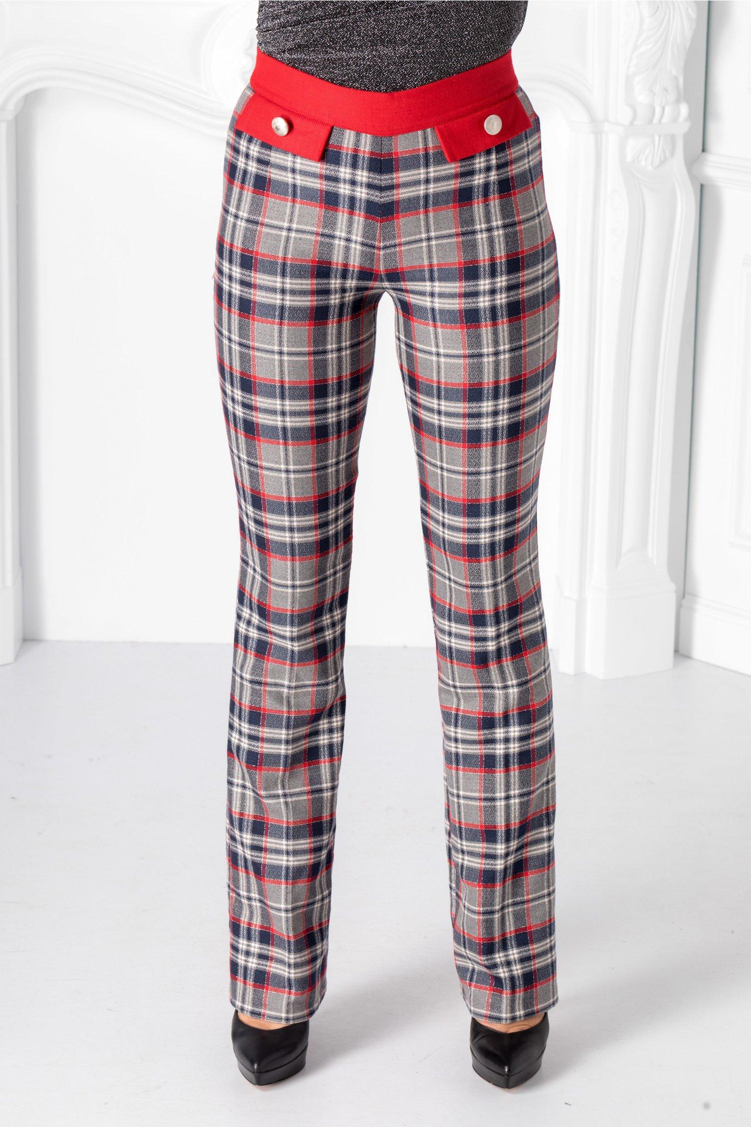 Pantaloni Pretty gri cu carouri rosii thumbnail