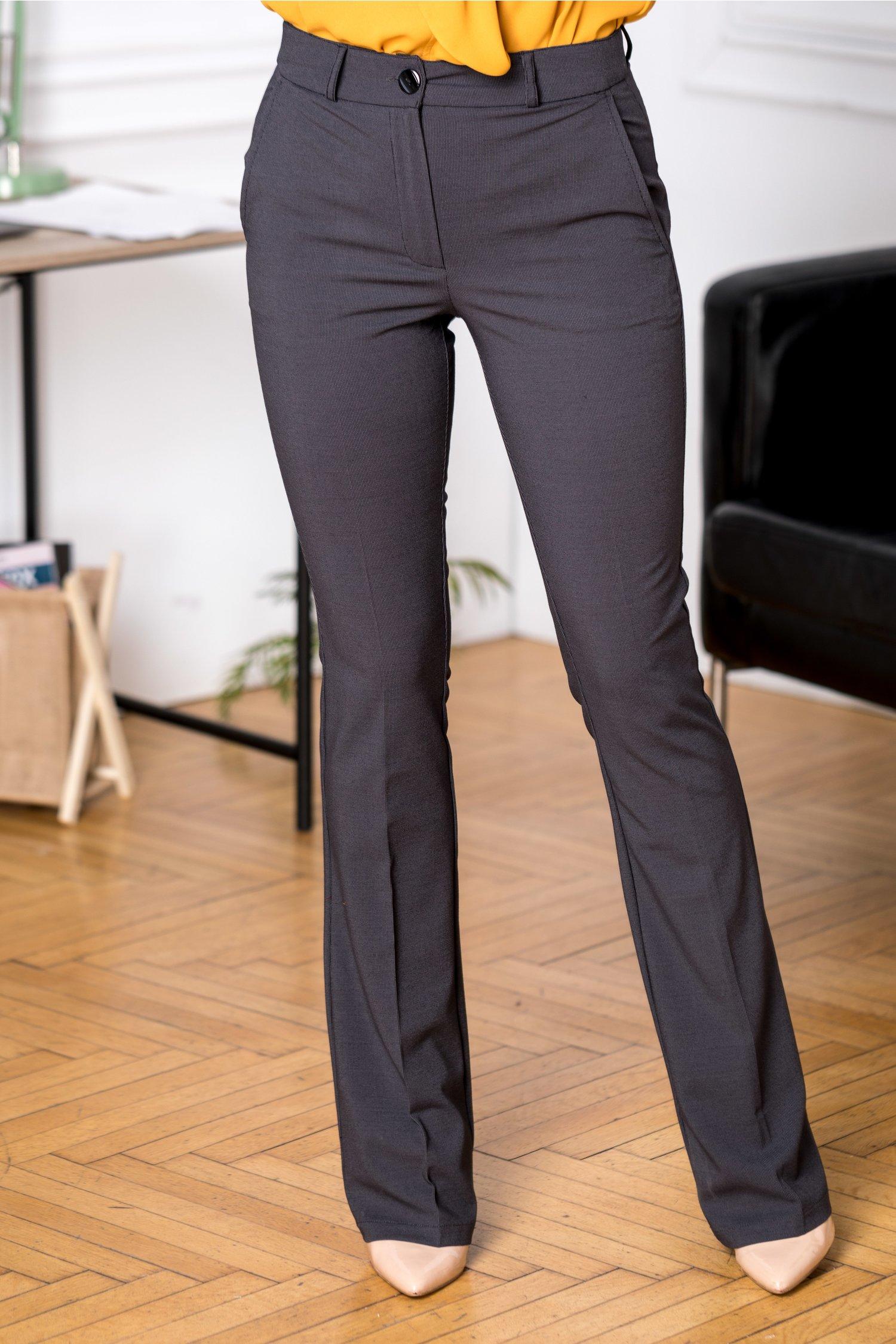 Pantaloni Ronna office negri cu buline albe mici