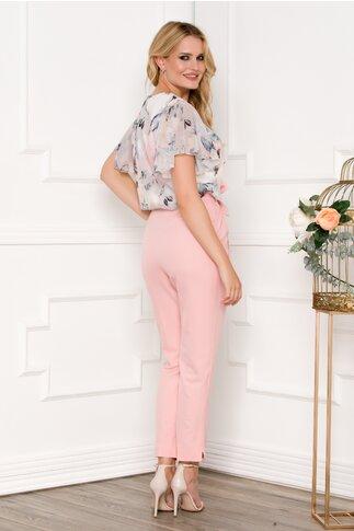 Pantaloni Ronny roz pastel cu cordon in talie