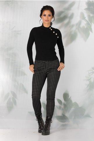 Pantaloni Roxi negri cu carouri