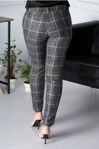 Pantaloni Sami gri cu carouri office