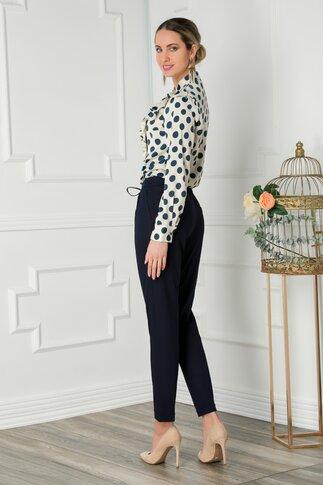 Pantaloni Sara bleumarin office cu pliuri si elastic in talie