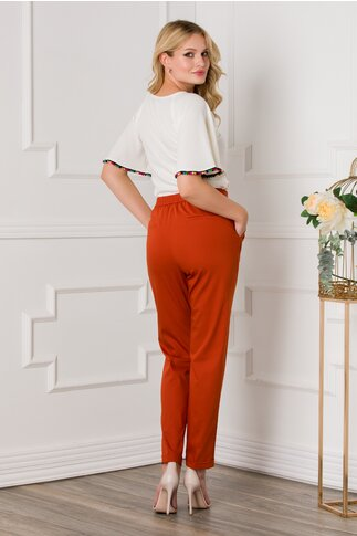 Pantaloni Sara caramizii office cu pliuri si elastic in talie