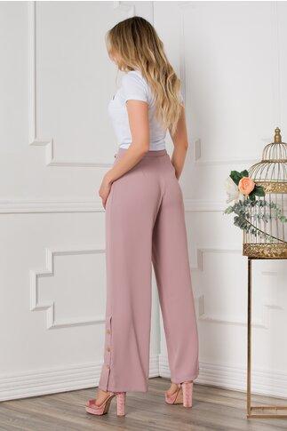 Pantaloni Sarah roz prafuit evazati