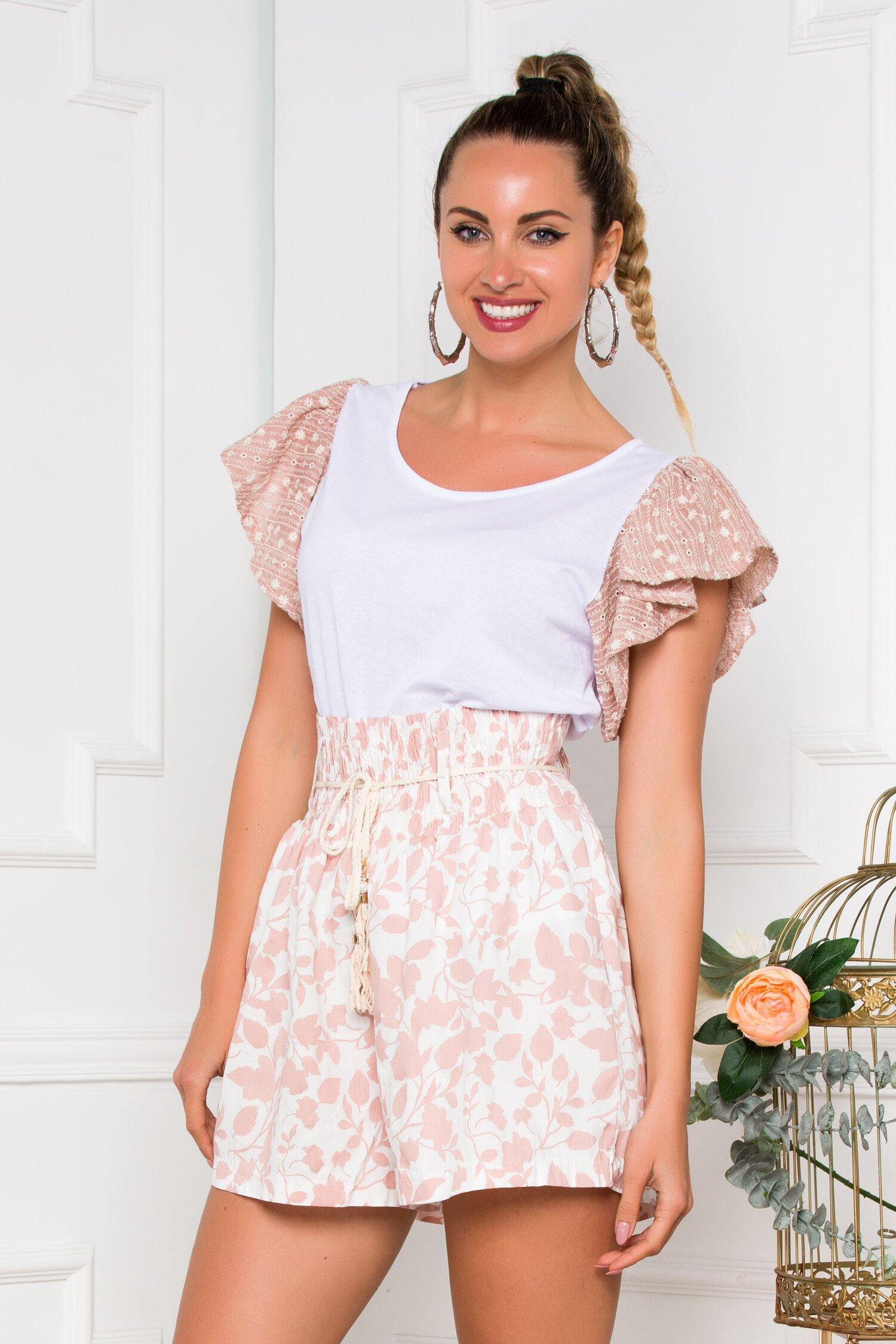 Pantaloni scurti ivoire cu imprimeu floral roz prafuit