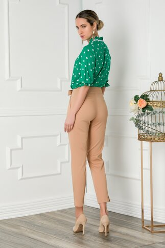 Pantaloni Sierra bej cu funda in talie