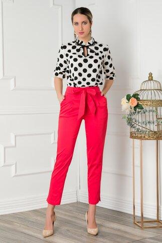 Pantaloni Sierra rosii cu funda in talie