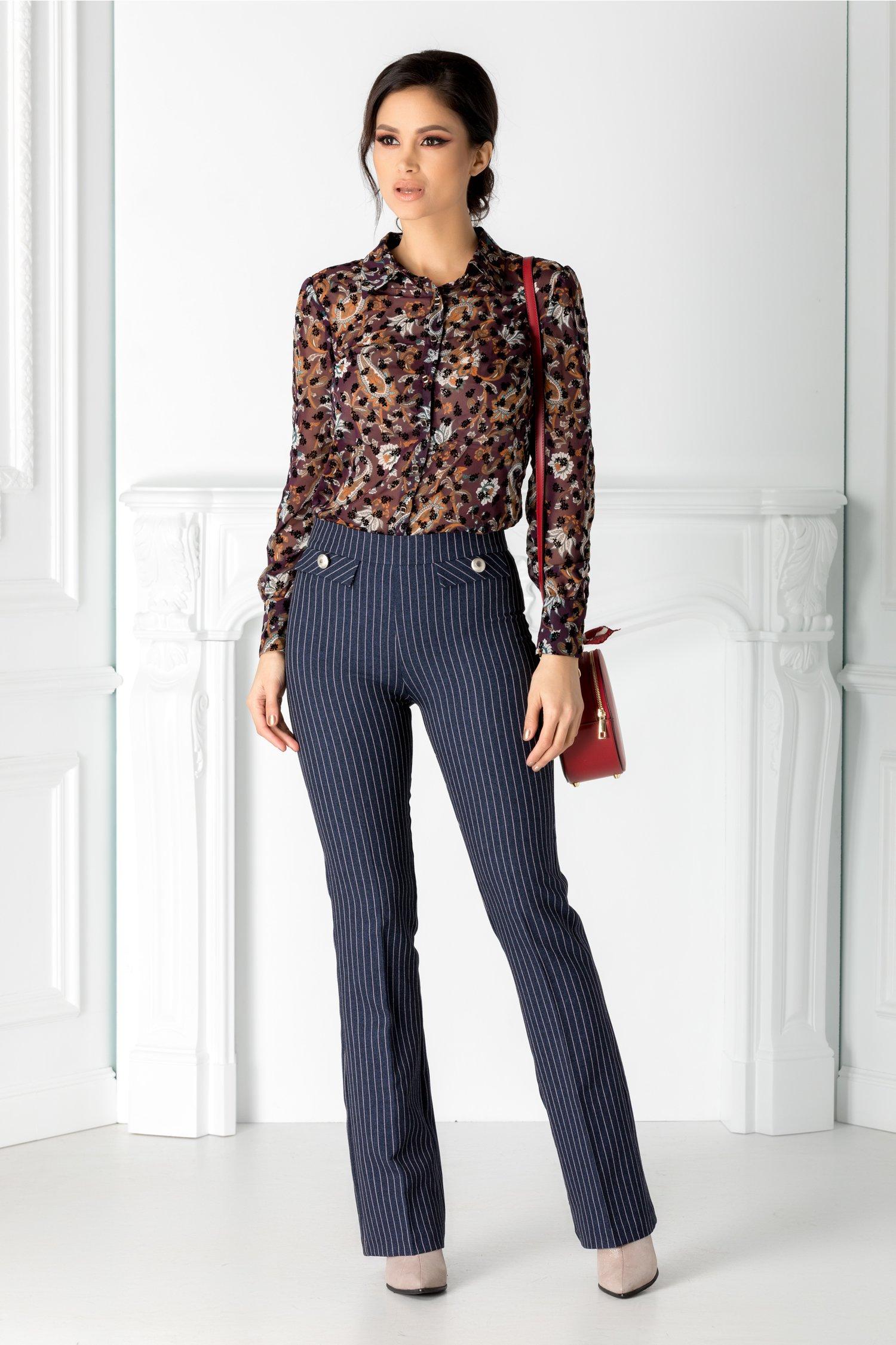 Pantaloni Simi bleumarin cu dungi roz thumbnail