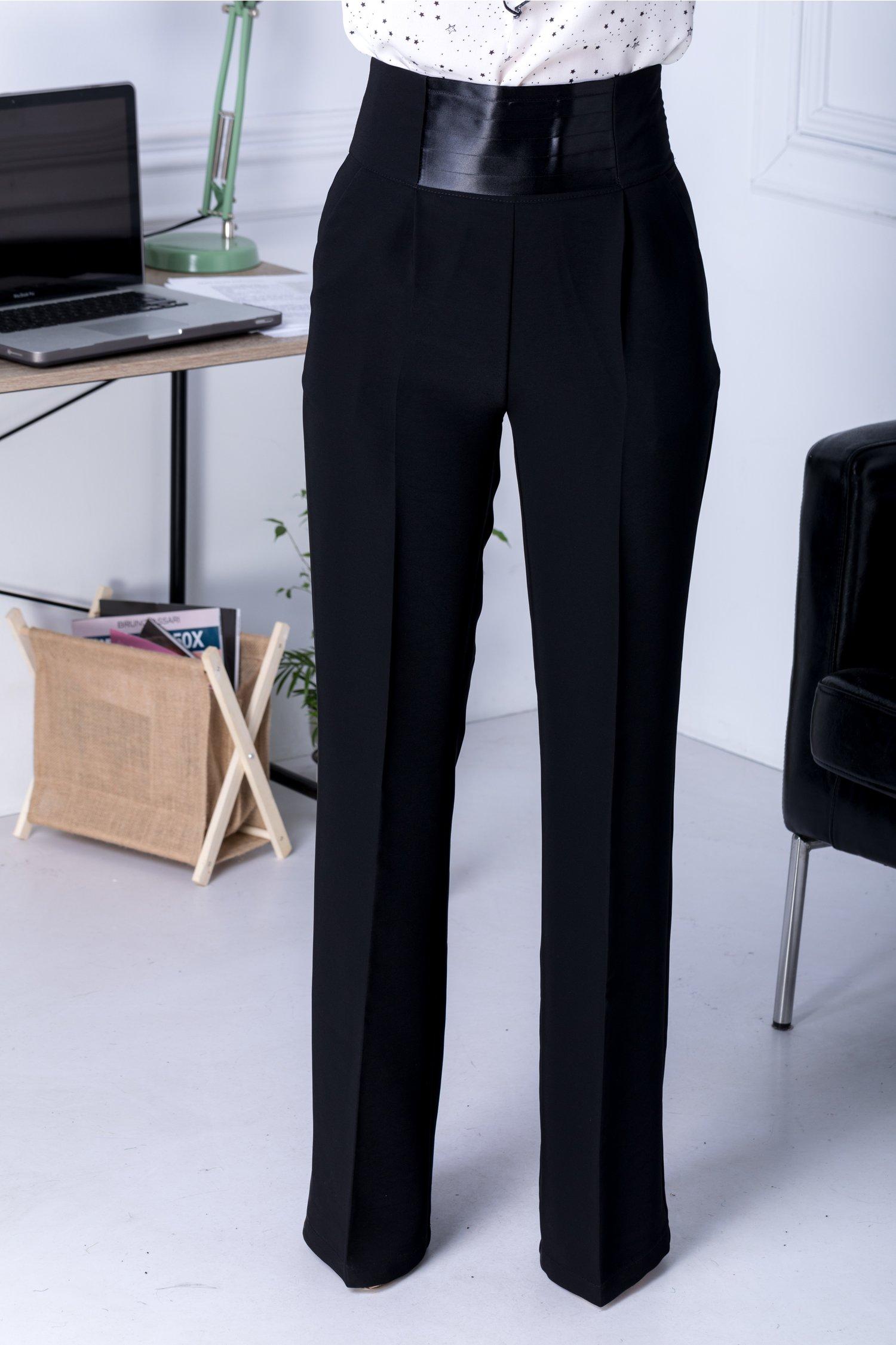 Pantaloni Simi negri evazati