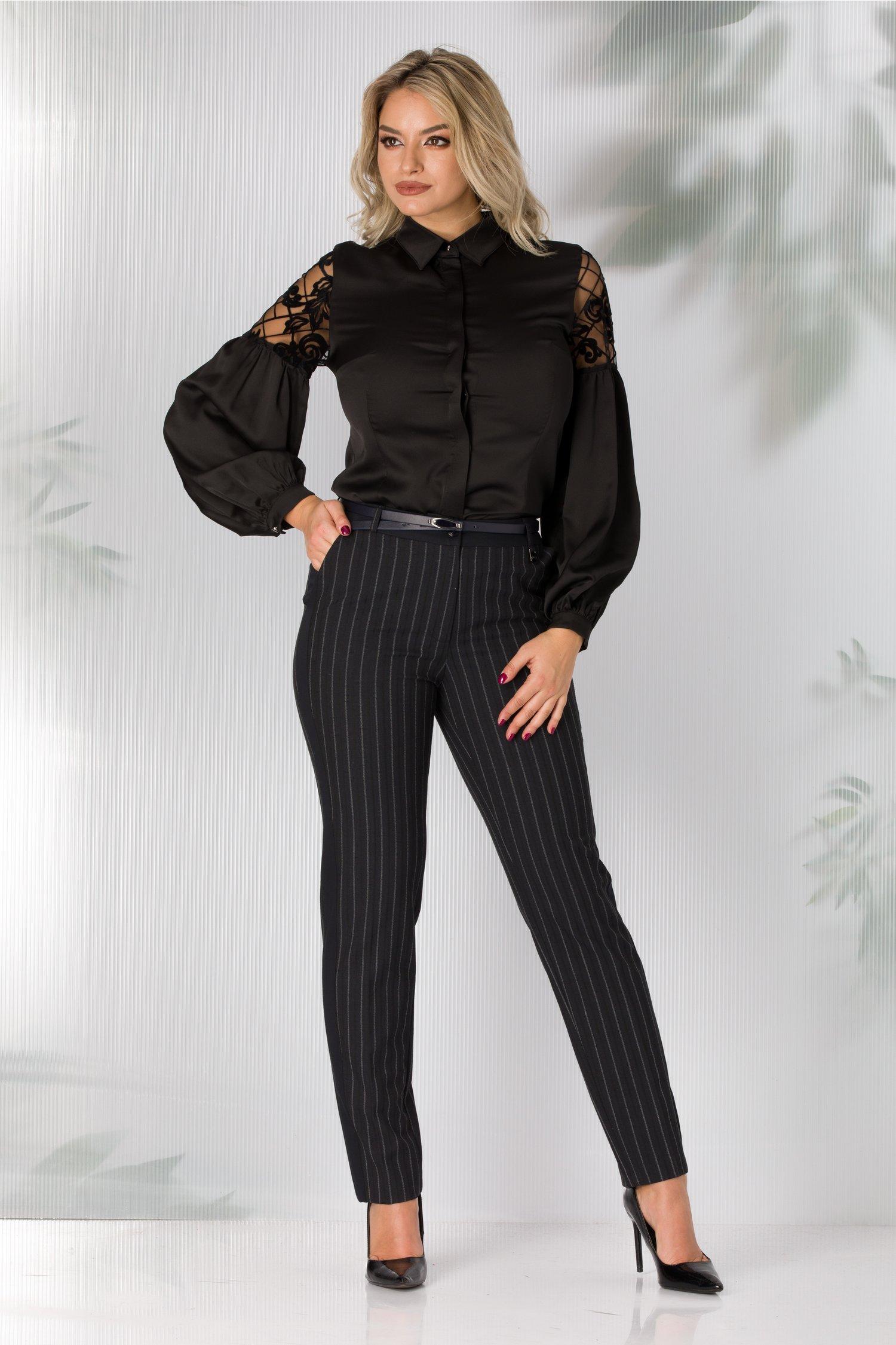 Pantaloni Sonia office bleumarin cu dungi