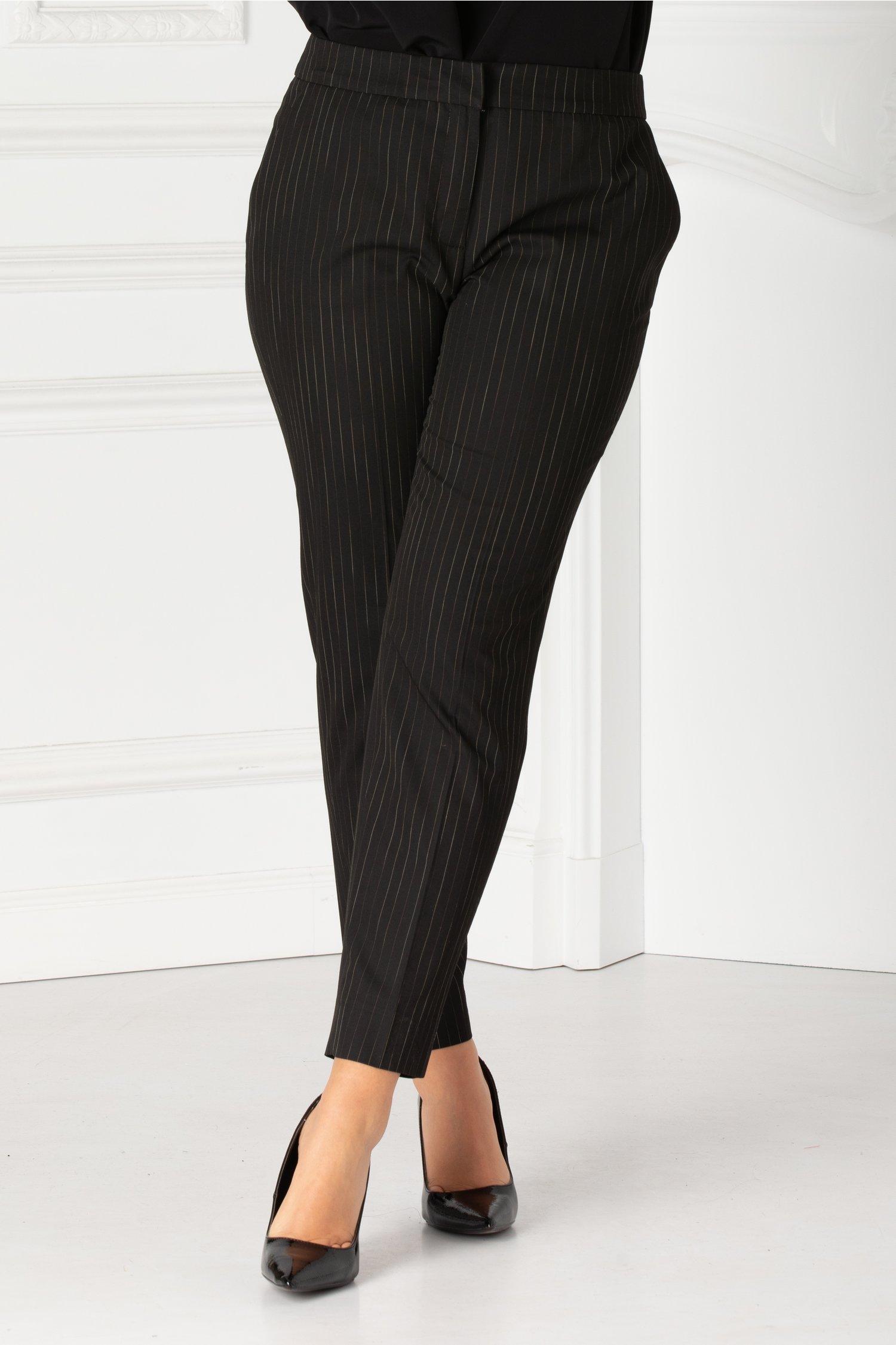 Pantaloni Theo negri office cu dungi subtiri
