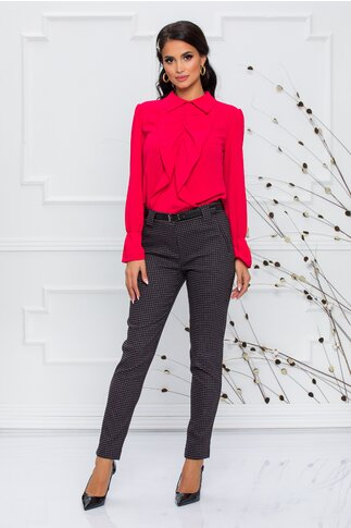 Pantaloni Vanya gri cu imprimeu in carouri in nuante de negru si bordo