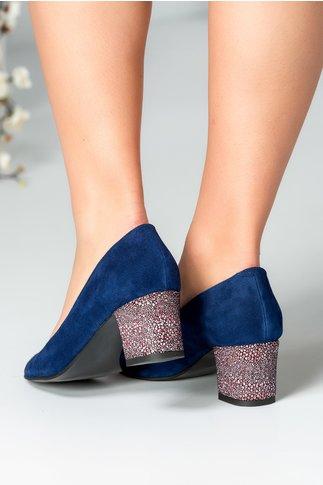 Pantof Delicia albastru cu toc imprimat