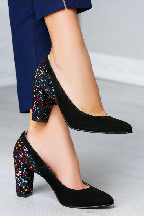 Pantofi Abigail negri cu imprimeuri colorate