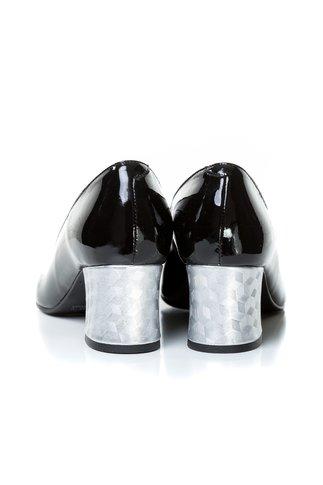 Pantofi Aidin negri din lac cu toc argintiu