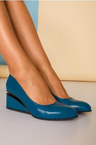 Pantofi albastru petrol cu toc futurist din piele naturala