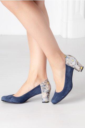 Pantofi Alexis bleumarin cu imprimeu floral pe toc