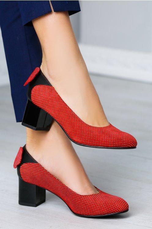 Pantofi Amalia rosii cu buline albe si funda