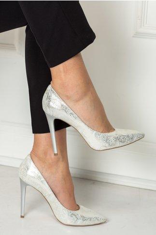 Pantofi Amaranda argintiu stiletto cu imprimeuri