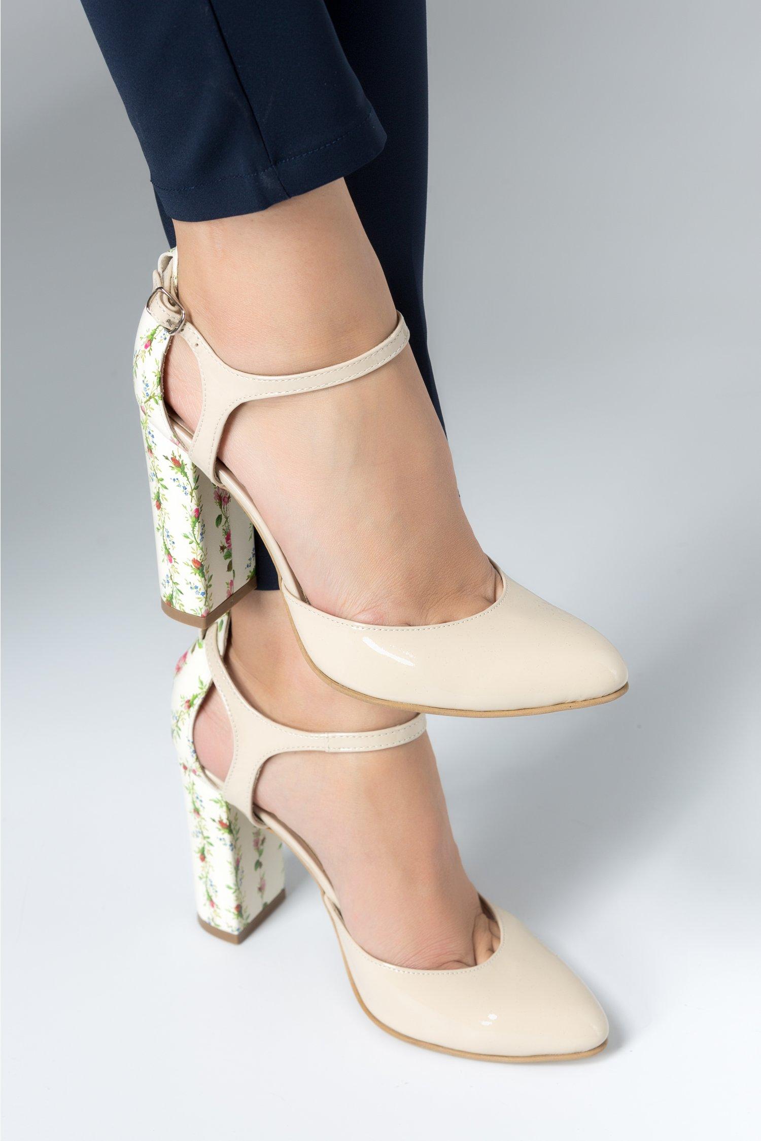 Pantofi Amira crem cu imprimeuri florale