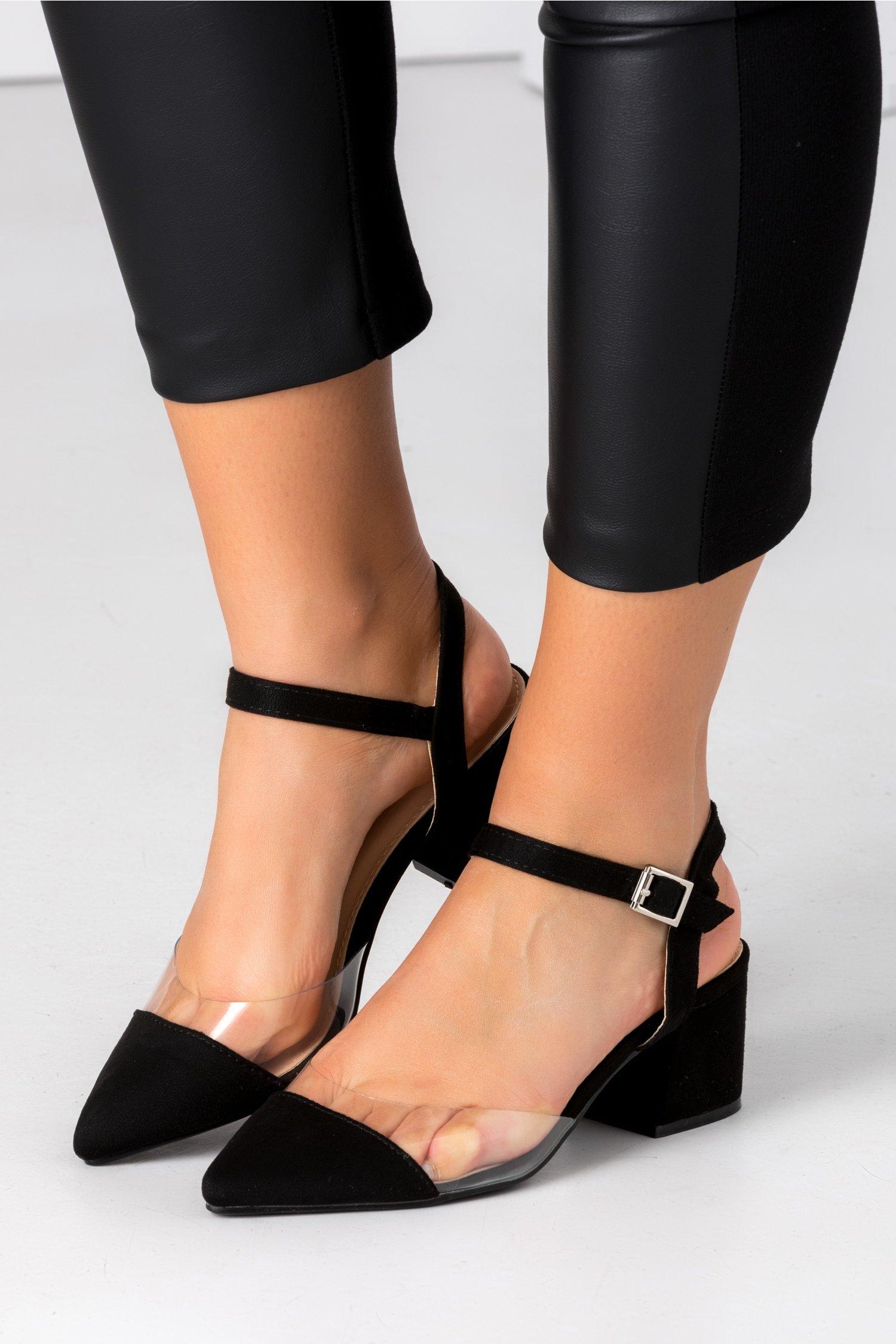 Pantofi Amty negri cu insertie transparenta