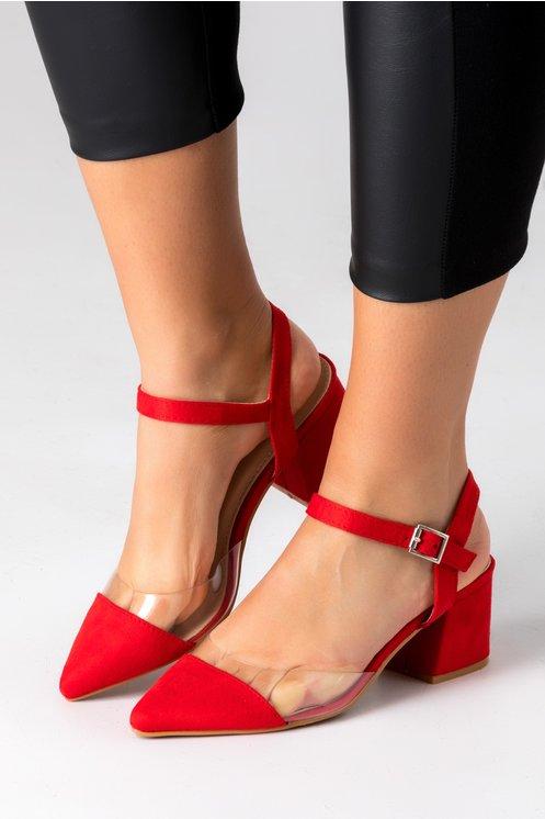 Pantofi Amty rosii cu insertie transparenta