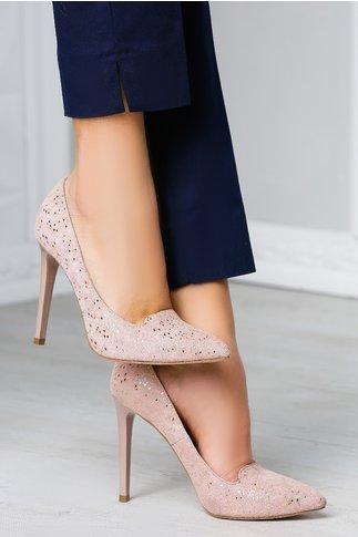 Pantofi Anda stiletto roz eleganti de ocazie