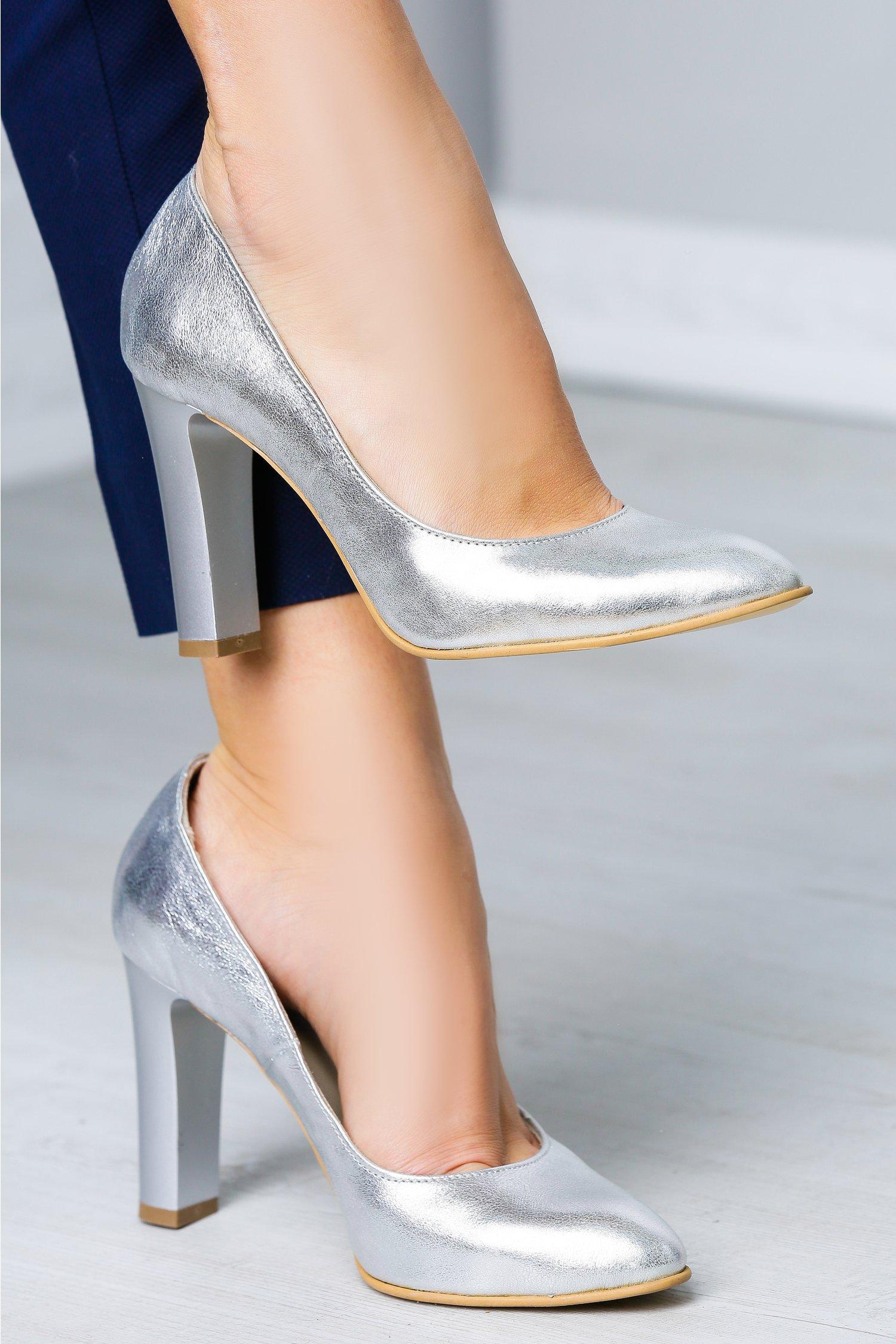 Magazin Online Haine - Pantofi Arabela argintiu de ocazie -Fashion-4u.Eu