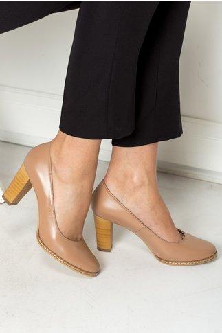 Pantofi Arabela nude office cu toc maro
