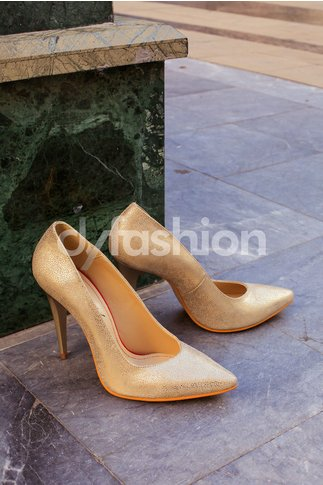 Pantofi aurii eleganti cu toc inalt stiletto
