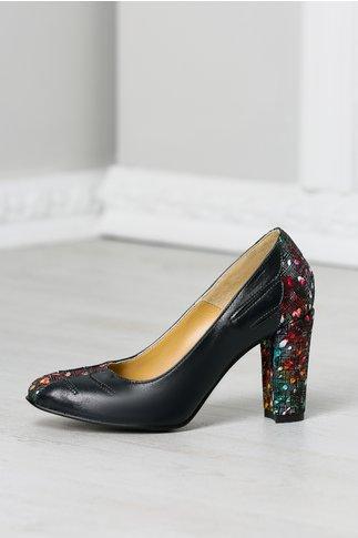 Pantofi Ava bleumarin office cu imprimeuri