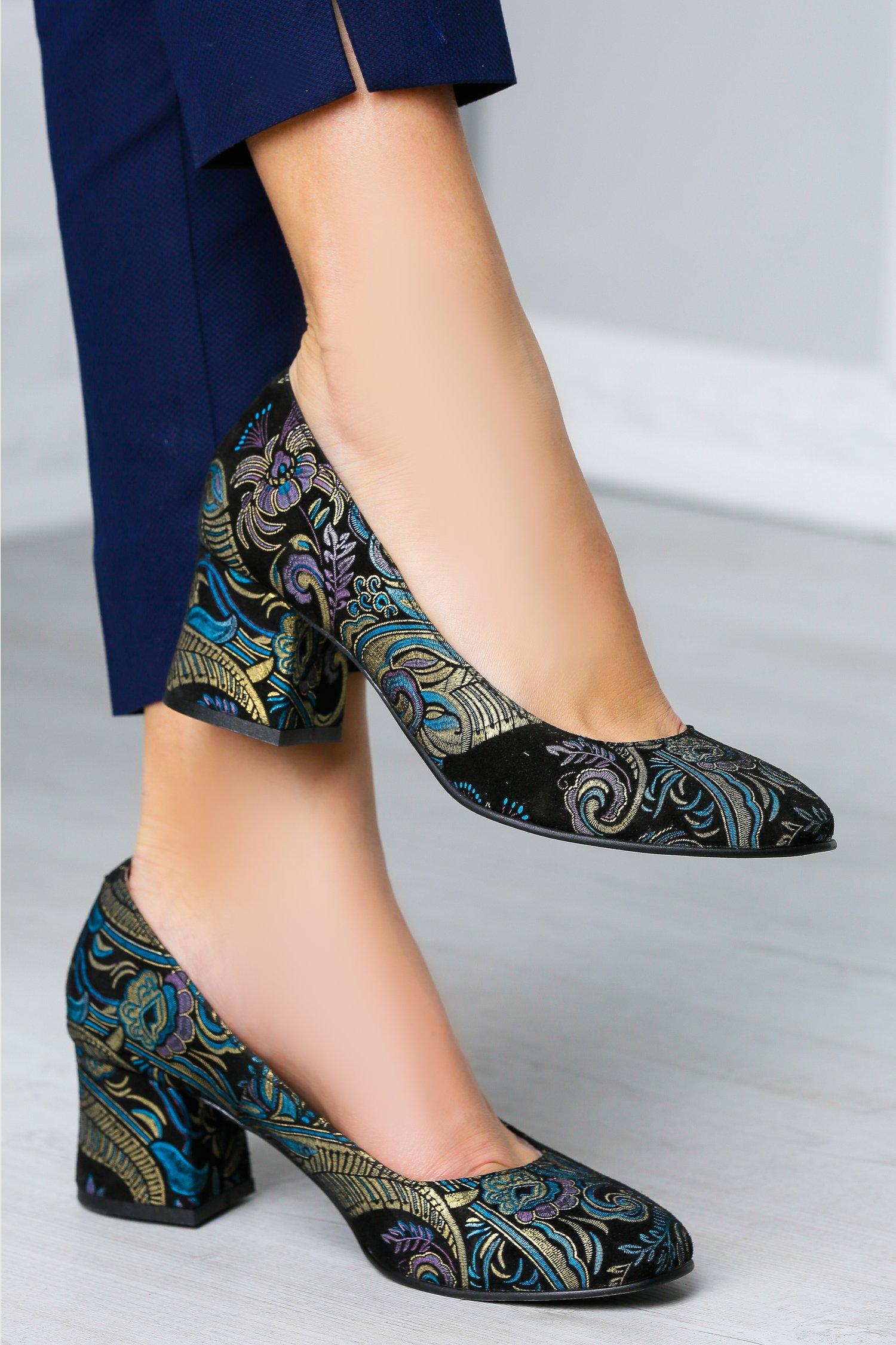 Pantofi Azur negri cu imprimeuri de ocazie